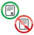 Decline document permission signs set vector image