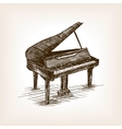 Grand piano hand drawn sketch style vector image