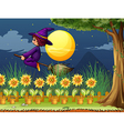 A witch in the garden vector image