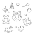 Childish icons with girl and toys vector image