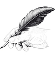 drawing of hand with a feather pen vector image