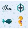 fish and sea horse icon Sea animal cartoon vector image