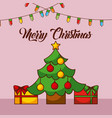 merry christmas card tree star balls gift boxes vector image