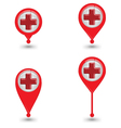 Set Of Map Pin Icon With Red Cross Sign Hospital vector image