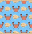 sea animals creatures crab seamless pattern vector image