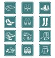 footwear icons teal series vector image vector image