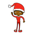 comic cartoon waving christmas elf vector image