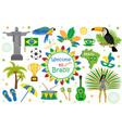 brazilian carnival icons flat style brazil vector image