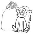 cat with christmas gifts coloring book vector image