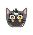 cute grey kitten head funny cartoon cat character vector image