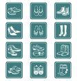 Footwear icons teal series vector image