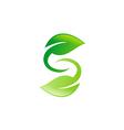 green leaf circle letter S logo vector image