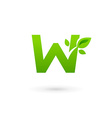 Letter W eco leaves logo icon design template vector image