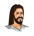portrait of happy jesus christ cartoon vector image