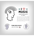 Punk rock music icons Rock hand symbol Modern vector image