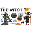 Witch and dark magic objects vector image