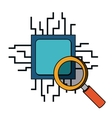 computer processor with magnifying glass isolated vector image