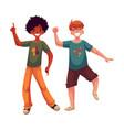 black and caucasian boys kids having fun dancing vector image