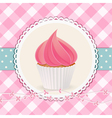 cupcake with pink icing on pink gingham background vector image vector image