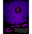 Halloween party flyer template - purple and black vector image
