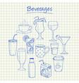 beverages doodles squared paper vector image