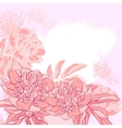 Card with peony on grunge background vector image