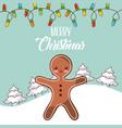 merry christmas gingerman tree snow lights winter vector image