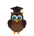 owl with hat graduation vector image
