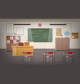 school classroom interior with green wall vector image