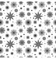 seamless pattern black silhouettes snowflakes set vector image