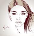 woman face hand drawn vector image