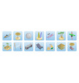 isometric summer beach vacation icons set vector image