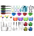 Kitchenware set with glasses vector image