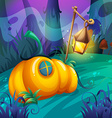 Pumpkin house in the jungle vector image