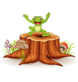 Cartoon happy frog jumping on tree stump vector image
