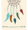 Color American Indians dreamcatcher with bird vector image