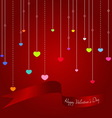 Colorful hearts with Valentine ribbon on red backg vector image