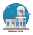 Observatory building at night with telescope vector image