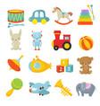 preschool children toys isolated cartoon vector image