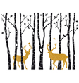 Birch trees with gold christmas reindeer vector