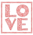 The word Love with floral ornament for your design vector image