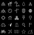 Location line icons on black background vector image