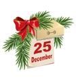 Tear-off calendar on 25 December Christmas Eve vector image