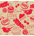 Vintage Love Foods pattern vector image