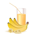 glass of juice and ripe bananas and sliced bananas vector image