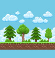 pixel game landscape with trees sky and vector image