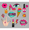 Set of fashion stickers vector image
