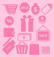 Set of shopping icons on pink background vector image