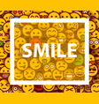 smiley faces design elements background with vector image