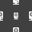 Web cam icon sign Seamless pattern on a gray vector image